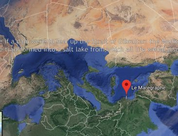 "Still image from the video ""The Sea is not a Road"" showing a map of the Mediterranean Sea and surrounding land. A red point marks Le Marégraphe."
